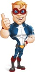 Superhero with Mask Cartoon Vector Character AKA Buff Jaxon - Thumbs Up