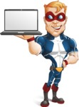Superhero with Mask Cartoon Vector Character AKA Buff Jaxon - Notebook