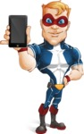 Superhero with Mask Cartoon Vector Character AKA Buff Jaxon - Mobile Phone
