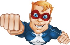 Superhero with Mask Cartoon Vector Character AKA Buff Jaxon - Fly 2