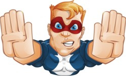 Superhero with Mask Cartoon Vector Character AKA Buff Jaxon - Fly 3