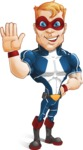 Superhero with Mask Cartoon Vector Character AKA Buff Jaxon - Hello