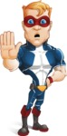 Superhero with Mask Cartoon Vector Character AKA Buff Jaxon - GoodBye