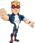 Superhero with Mask Cartoon Vector Character AKA Buff Jaxon - Angry 1
