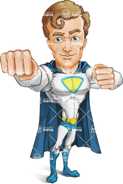 Hero with a Cape Cartoon Vector Character AKA Johnny Colossal - Punch