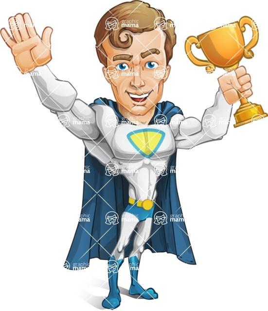 Hero with a Cape Cartoon Vector Character AKA Johnny Colossal - Winner