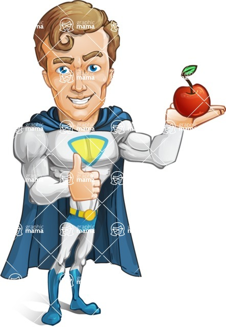 Hero with a Cape Cartoon Vector Character AKA Johnny Colossal - Apple
