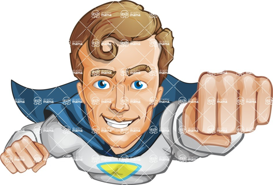 Hero with a Cape Cartoon Vector Character AKA Johnny Colossal - Flying