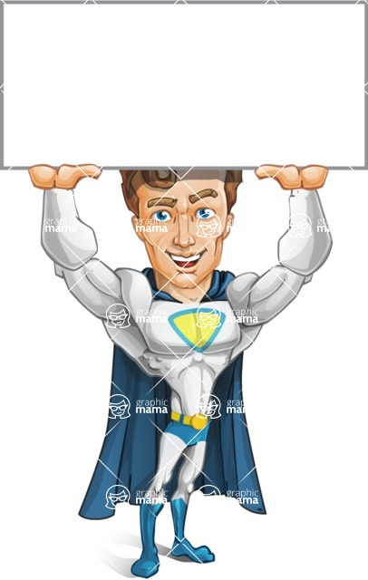 Hero with a Cape Cartoon Vector Character AKA Johnny Colossal - Sign1