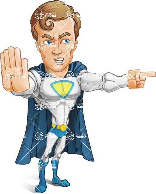 Hero with a Cape Cartoon Vector Character AKA Johnny Colossal - Direct Attention2