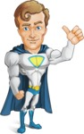 Hero with a Cape Cartoon Vector Character AKA Johnny Colossal - Normal