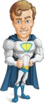Hero with a Cape Cartoon Vector Character AKA Johnny Colossal - Confident
