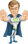 Hero with a Cape Cartoon Vector Character AKA Johnny Colossal - Stop