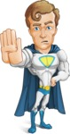 Hero with a Cape Cartoon Vector Character AKA Johnny Colossal - Stop2
