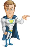 Hero with a Cape Cartoon Vector Character AKA Johnny Colossal - Point