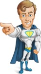 Hero with a Cape Cartoon Vector Character AKA Johnny Colossal - Point3