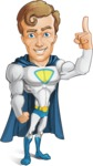 Hero with a Cape Cartoon Vector Character AKA Johnny Colossal - Attention