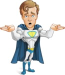 Hero with a Cape Cartoon Vector Character AKA Johnny Colossal - Lost2