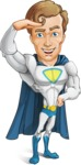 Hero with a Cape Cartoon Vector Character AKA Johnny Colossal - Salute