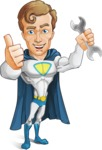 Hero with a Cape Cartoon Vector Character AKA Johnny Colossal - Repair