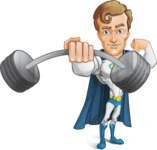 Hero with a Cape Cartoon Vector Character AKA Johnny Colossal - Fitness