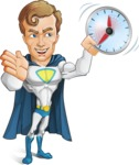 Hero with a Cape Cartoon Vector Character AKA Johnny Colossal - Time is yours