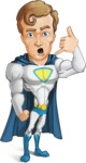 Hero with a Cape Cartoon Vector Character AKA Johnny Colossal - Support
