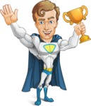 Hero with a Cape Cartoon Vector Character AKA Johnny Colossal - Winner