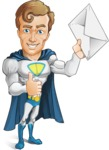 Hero with a Cape Cartoon Vector Character AKA Johnny Colossal - Letter2