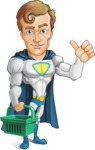 Hero with a Cape Cartoon Vector Character AKA Johnny Colossal - Shopping