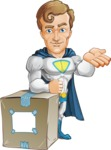 Hero with a Cape Cartoon Vector Character AKA Johnny Colossal - Delivery