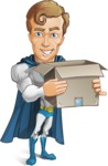 Hero with a Cape Cartoon Vector Character AKA Johnny Colossal - Delivery2