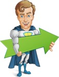 Hero with a Cape Cartoon Vector Character AKA Johnny Colossal - Arrow2