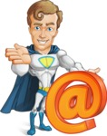 Hero with a Cape Cartoon Vector Character AKA Johnny Colossal - Email