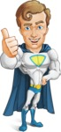 Hero with a Cape Cartoon Vector Character AKA Johnny Colossal - Thumbs Up