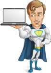 Hero with a Cape Cartoon Vector Character AKA Johnny Colossal - Laptop
