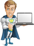 Hero with a Cape Cartoon Vector Character AKA Johnny Colossal - Laptop2