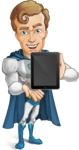 Hero with a Cape Cartoon Vector Character AKA Johnny Colossal - Tablet2
