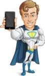 Hero with a Cape Cartoon Vector Character AKA Johnny Colossal - Mobile Phone