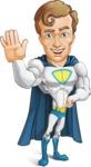 Hero with a Cape Cartoon Vector Character AKA Johnny Colossal - Hello
