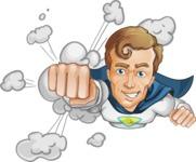 Hero with a Cape Cartoon Vector Character AKA Johnny Colossal - Shape 2