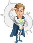 Hero with a Cape Cartoon Vector Character AKA Johnny Colossal - Shape 5