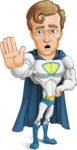 Hero with a Cape Cartoon Vector Character AKA Johnny Colossal - Goodbye