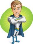 Hero with a Cape Cartoon Vector Character AKA Johnny Colossal - Shape 7