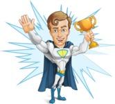 Hero with a Cape Cartoon Vector Character AKA Johnny Colossal - Shape 9