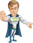 Hero with a Cape Cartoon Vector Character AKA Johnny Colossal - Direct Attention