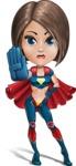 Cute Superhero Girl Cartoon Vector Character AKA Gamma Rey - Stop 2