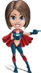 Cute Superhero Girl Cartoon Vector Character AKA Gamma Rey - Point 2
