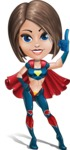 Cute Superhero Girl Cartoon Vector Character AKA Gamma Rey - Attention
