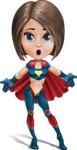 Cute Superhero Girl Cartoon Vector Character AKA Gamma Rey - Lost 1